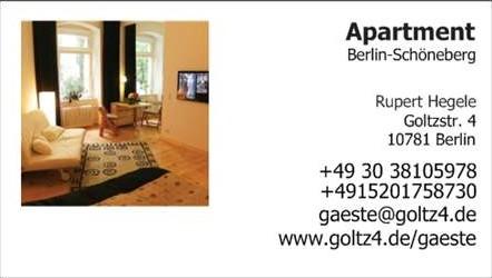 Gast, Gäste, Guest, Berlin, Apartment, B&B, Ferienwohnung, Goltzstrasse, gay, Nollendorfplatz, Motzstrasse, Schöneberg